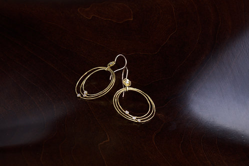 Gold and Diamond Hoop Earrings (04765)