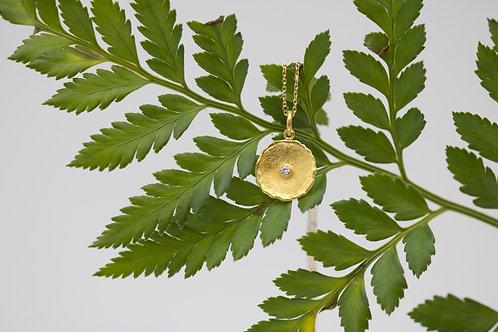 Small Gold Dish Pendant (06714)