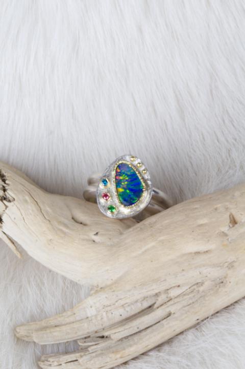 Opal Tsavorite Sapphire Ring (04569)