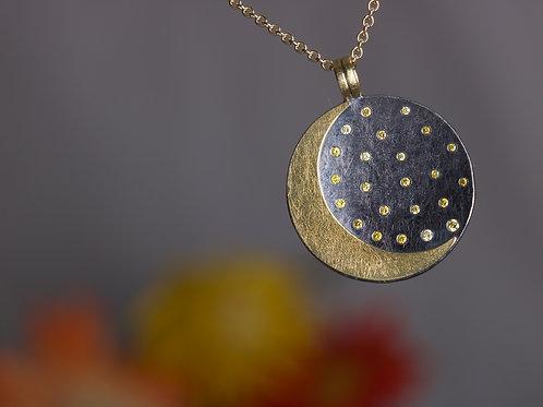 Moon and Yellow Diamonds Pendant (06481)