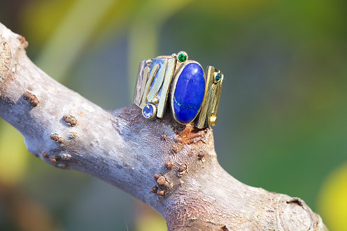Lapis and Mixed Gems Ring (05494)