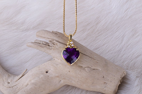 Heart Shaped Amethyst Pendant (04658)