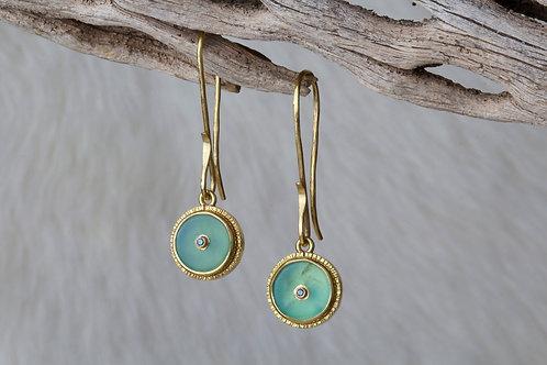 Peruvian Opal Diamond Earrings (02230)