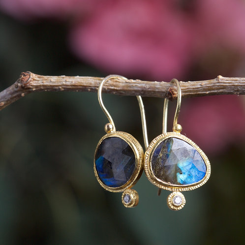 Labradorite and Diamond Earrings (06007)