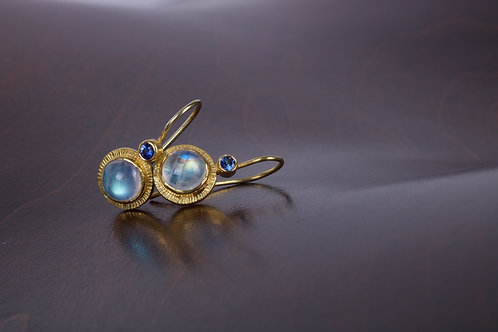Moonstone and Sapphire Earrings (05196)