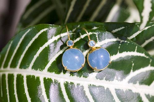 Aquamarine Cabochon Earrings (06759)