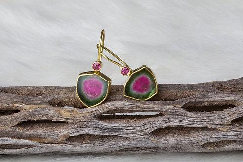 Watermelon Tourmaline Earrings (02762)