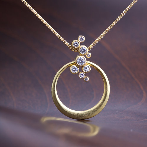 Yellow Gold Hoop and Diamond Pendant (04535)
