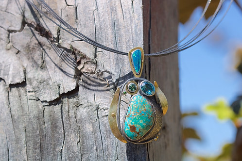Turquoise and Opal Pendant (04428)