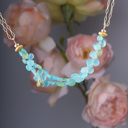 Peruvian Opal and Apatite Beaded Necklace (05865)
