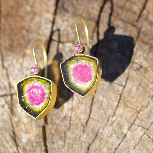Watermelon Tourmaline Earrings (05818)