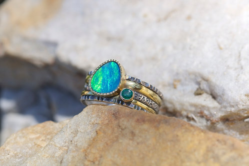 Opal and Emerald Ring (04037)