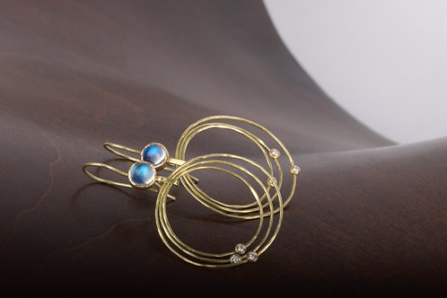 Moonstone and Diamond Hoop Earrings (05371)
