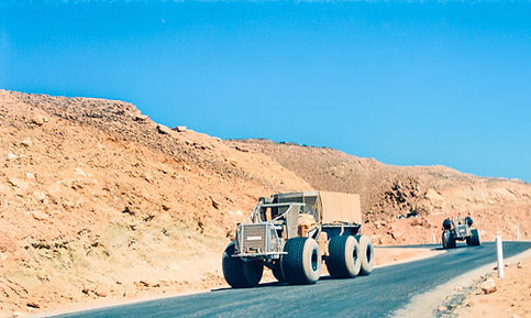 Algerian army trucks in Sahara