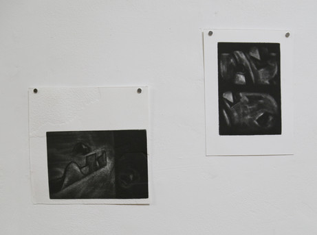 Vic and Tim, mezzotints on embossed somerset paper, 2018