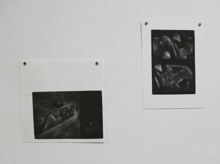 Vic and Tim, mezzotints on embossed some