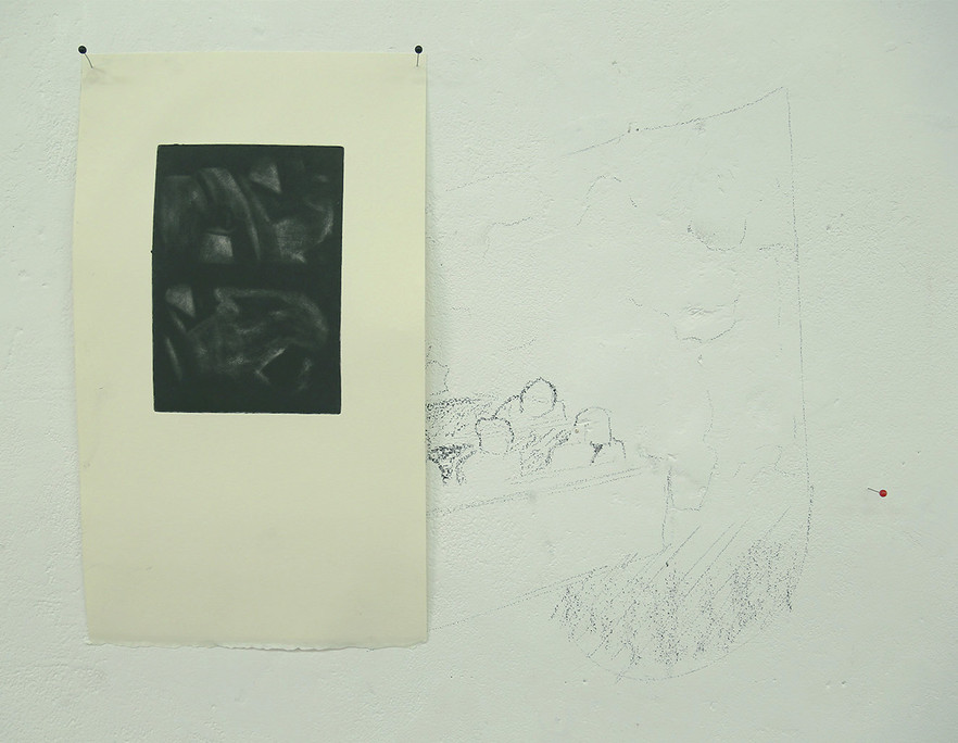 Weight, 30x42 cm, mezzotint, pins and ch