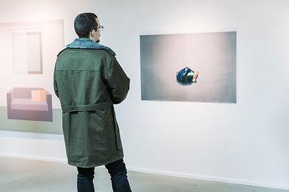 (return to) (Newcastle), oil on board mounted on A0 photographic print, 2019; left: Zsofia Schweger's painting