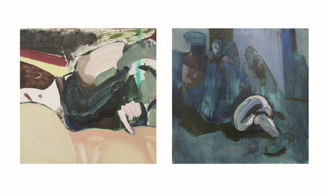 (Ctrl+F) diptych,  oil and charcoal on wood, 30x60cm, 2018