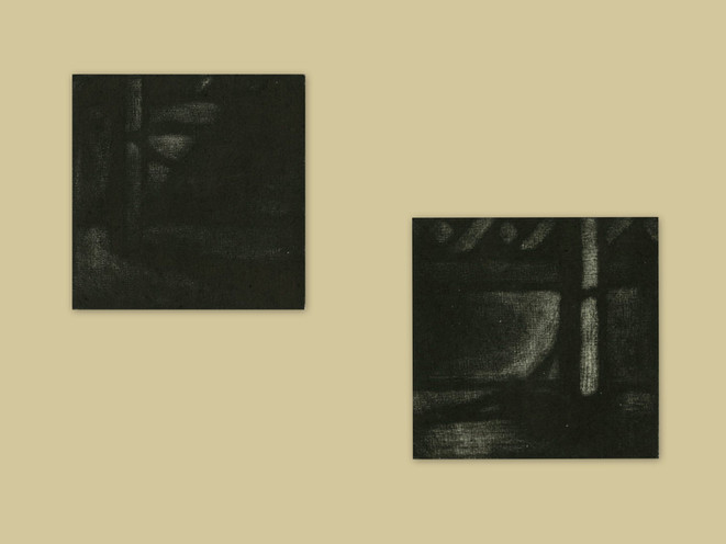 Vic and Tim Playing on the terrace, mezzotint, 2x8x8cm, 2018