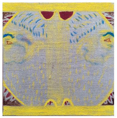 Tradicio, pastel and ink on unprimed canvas, 30x30cm, 2020