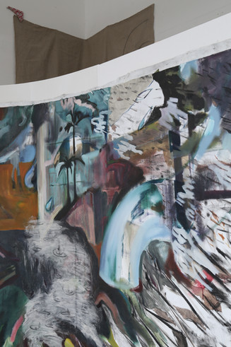 Failure to launch (detail), oil and charcoal on linen mounted on wood, 220x500cm, 2018