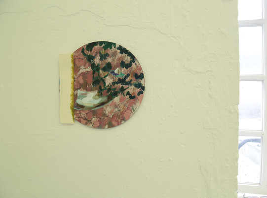 Unditled (degree show detail), oil and paper on wood, 22cm diameter, 2019