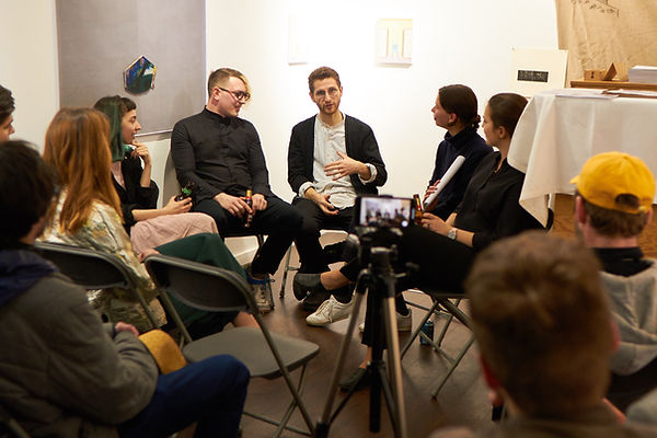 Artists' discussion, London. Participants from left to right: Zsofia Jakab, Marton Nemes, Andras N-S, Borbala Szanto (moderator), Zsofia Schweger