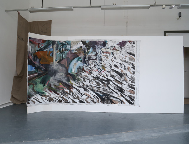 Failure to launch (degree show install shot), oil and charcoal on linen mounted on wood, 220x500cm, 2018
