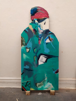 Biker, oil and acrylic on plywood, 182x95cm, 2019