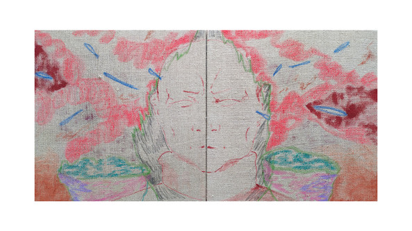 We all miss the wind, ink, pastel and oil on unprimed linen, 30x60cm, 2020