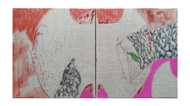 Tradicio 2, ink and pastel on linen, 30x30, 2020