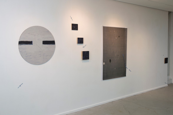Location (install shot, hu Newcastle), oil on board and photographic print, 350x200 cm, 2019