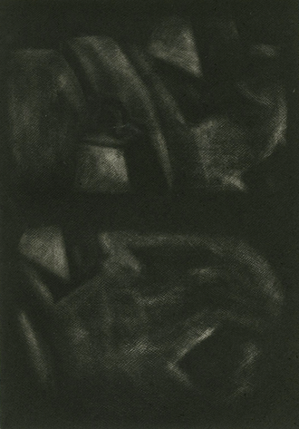 Vic and Time Playing, mezzotint, 12x8cm, 2018