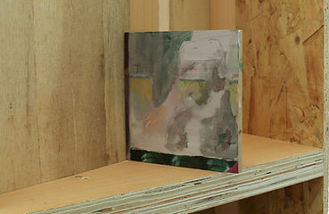Untitled Spittle, oil on wood attached to wood structure, 15x15 cm, 2018