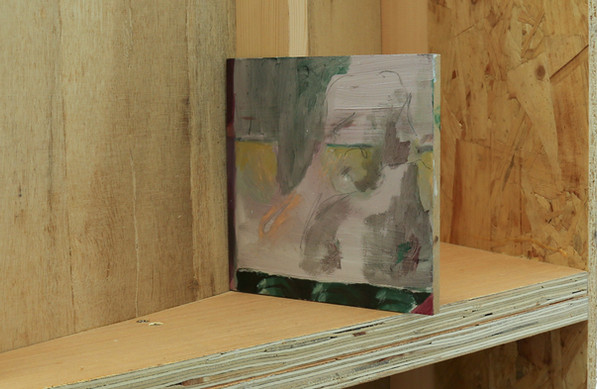 Untitled Spittle (degree show shot), oil on wood mounted on plywood structure, 13x13cm, 2018
