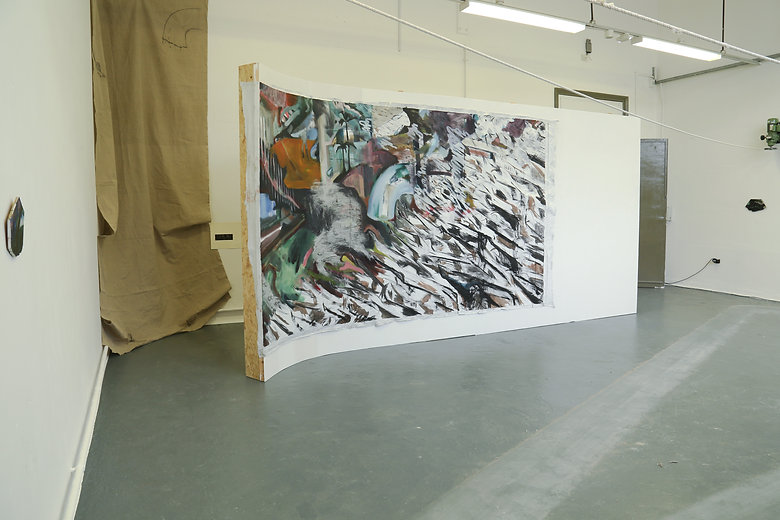Failiure to Launch, oil on linen mounted on the wall, 220x500cm, 2018, Degree Show installation shot, Newcastle University, 2018