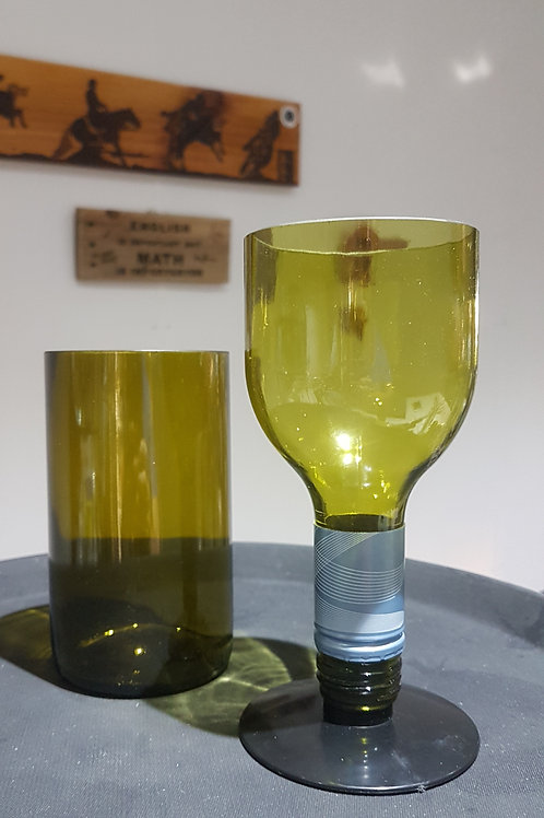 Wine Bottle Tumbler and Wine Glass