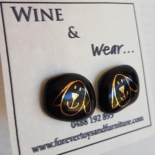 Gold Dog design Baileys stud earrings