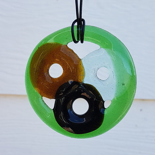 Wine bottle ring pendant necklace with inset bottle necks