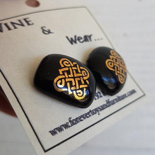 Gold Celtic design Baileys stud earrings