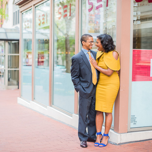 VINTAGE DREA MUSTARD DRESS WITH BLUE SUEDE LASER CUTOUT SANDALS | ENGAGEMENT SESSION FASHION