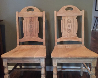 SOLD OUT!Pair of Vintage Spanish Solid Wood Chairs