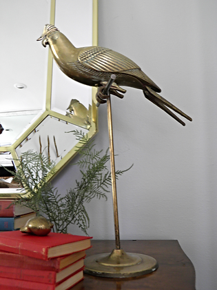 SOLD OUT!!Brass Parrot on Stand