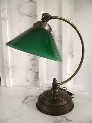 SOLD OUT!! Vintage Green Glass Desk Lamp