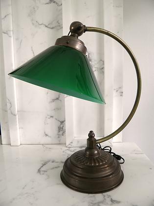 SOLD OUT!! Vintage Green Glass Desk Lamp