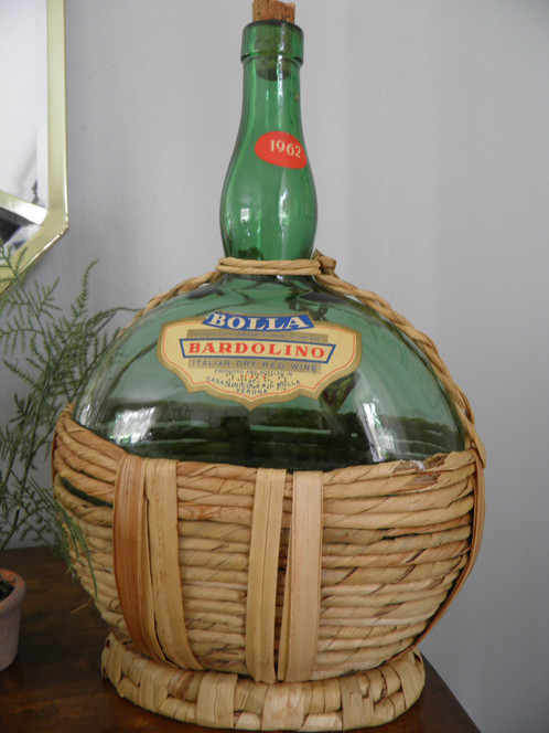 Great 1962 Green Gl Wine Jug With Jute Wring