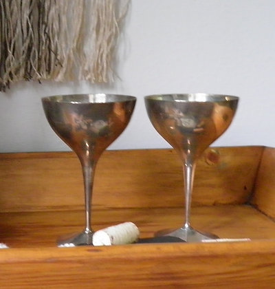 Pair of Silver Plated Wine Goblets
