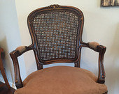 SOLD OUT!!Cane Backed, Carved Wood Armchair