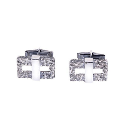 Hammered Silver Chain Cufflinks